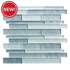 New! Cielo Mist Linear Glass Mosaic