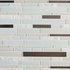 Northern White Stone Metallic Glass Mosaic