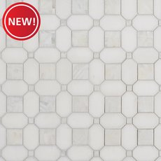 New! Thassos and Mother of Pearl II Basket Weave Marble Mosaic