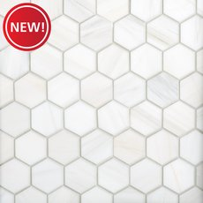 New! Dolomite and Bianco Carrara 2 in. Hexagon Marble Tile