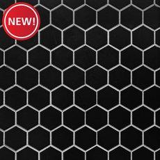 New! Black Matte 2 in. Hexagon Porcelain Mosaic