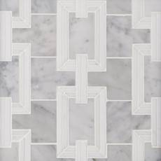 Ansel Thassos and Bianco Carrara Marble Waterjet Mosaic