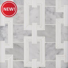 New! Ansel Thassos and Bianco Carrara Marble Waterjet Mosaic