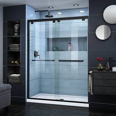 Encore Satin Black Semi-Frameless Bypass Sliding Shower Door