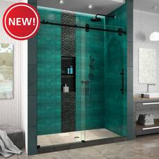 New! Enigma XO Satin Black Fully Frameless Sliding Shower Door