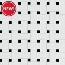 New! Black and White Basket Weave Porcelain Tile