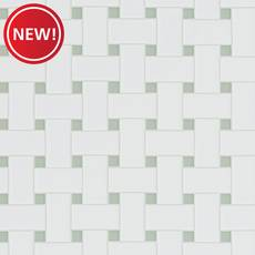 New! Gray and White Basket Weave Porcelain Tile