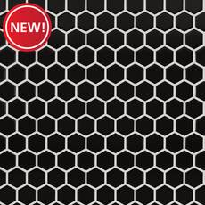 New! Black Small Hexagon Polished Porcelain Mosaic