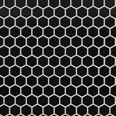 Black Small Hexagon Polished Porcelain Mosaic