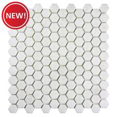 New! Gossamer White 1 in. Polished Marble Hexagon Mosaic