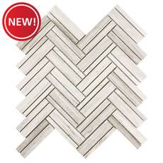 New! Coastal Ivory Honed Marble Herringbone Mosaic