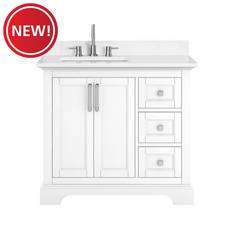 New! Paxton 37 in. White Vanity with Engineered Top