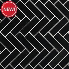 New! Jet Black Basalt Herringbone Mosaic