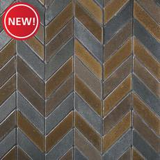 New! Metallic Lava Chevron Basalt Mosaic