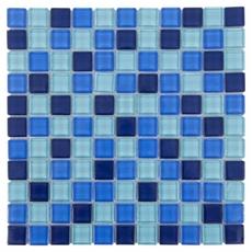 Montage Blue Mix Square Polished Glass Mosaic