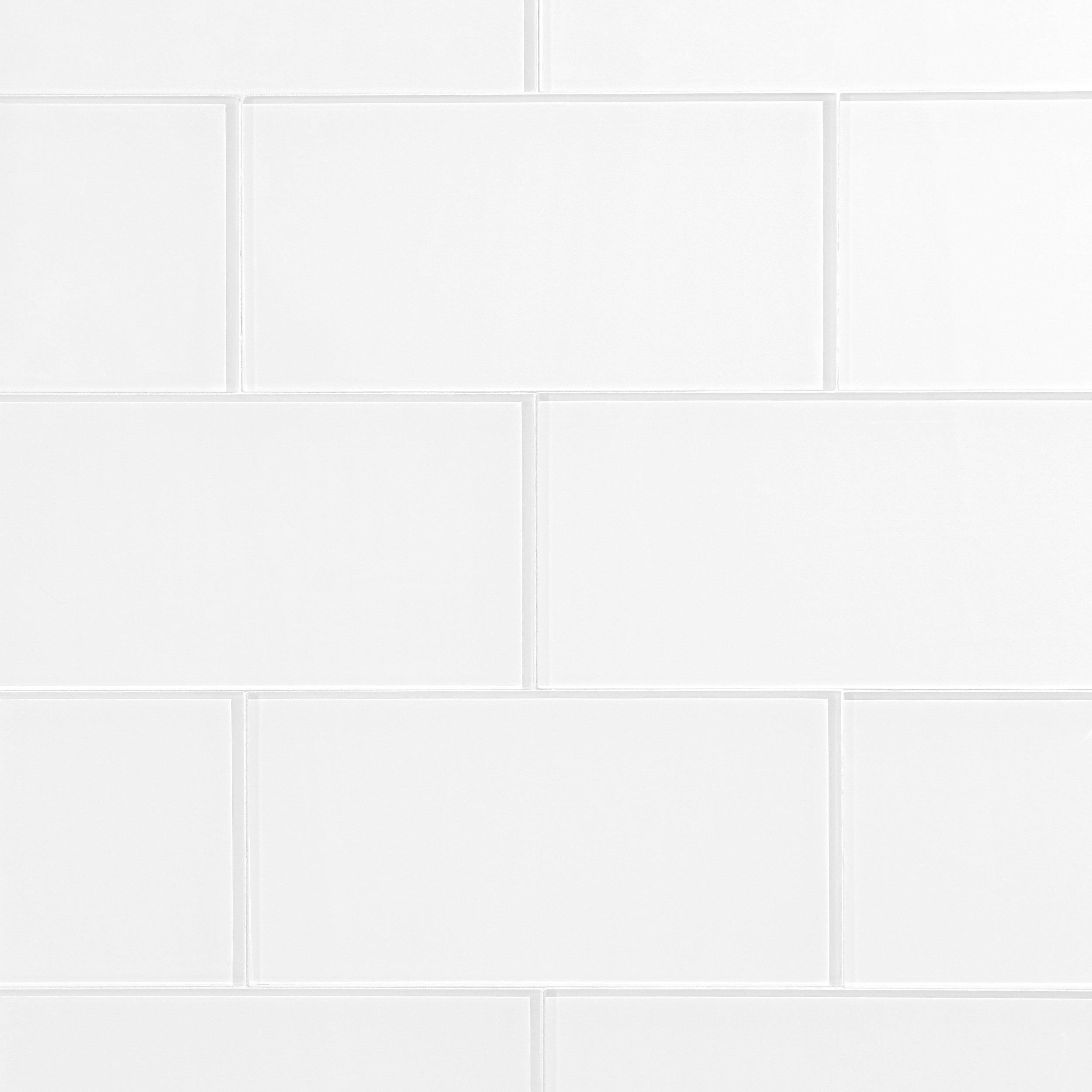 Snow White Shiny Glass Tile 6in x 12in 913102099 Floor and