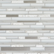 Montage Norwegian White Stone Linear Polished Glass Mosaic
