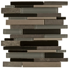 Black Timber Linear Glass and Stone Mosaic