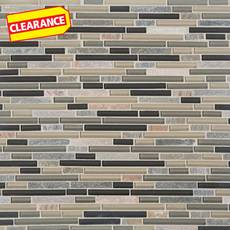 Clearance! Silver Aspen Linear Glass and Stone Mosaic