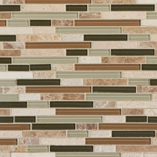 Bamboo Linear Blend Glass and Stone Mosaic