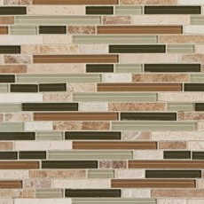 Bamboo Linear Glass and Stone Mosaic