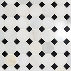 Carrara White and Black Octagon Marble Mosaic