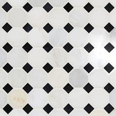 Carrara White and Black Octagon Marble Mosaic