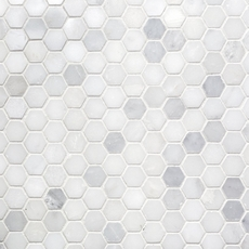 Carrara White Hexagon Marble Mosaic 12 X 12 931100239
