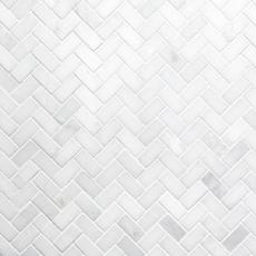 Carrara White Herringbone Marble Mosaic