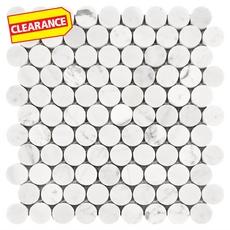 Clearance! Bianco Carrara Round Marble Mosaic