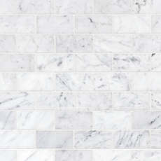 Bianco Carrara Polished Brick Marble Mosaic