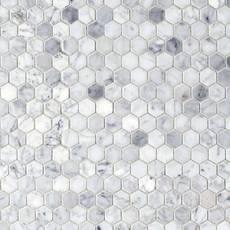 Bianco Carrara Polished Hexagon Marble Mosaic