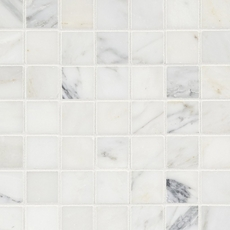Carrara Collection White Square Honed Marble Mosaic