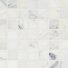 White Square Honed Marble Mosaic