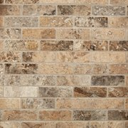 Argento Brushed Brick Travertine Mosaic