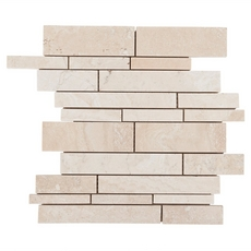 Savona Ivory Brushed Linear Stick Travertine Mosaic