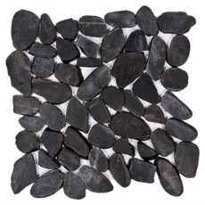 Black Flat Pebble Stone Mosaic