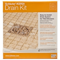 Schluter Kerdi-Drain 4in. x 4in. PVC Drain Kit in Brushed Nickel Anodized Aluminum
