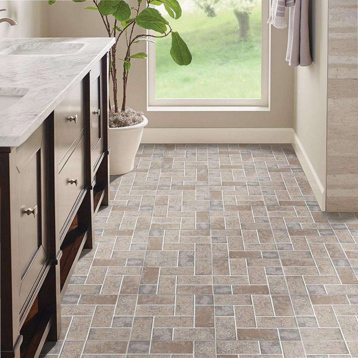 Tile on vinyl floor